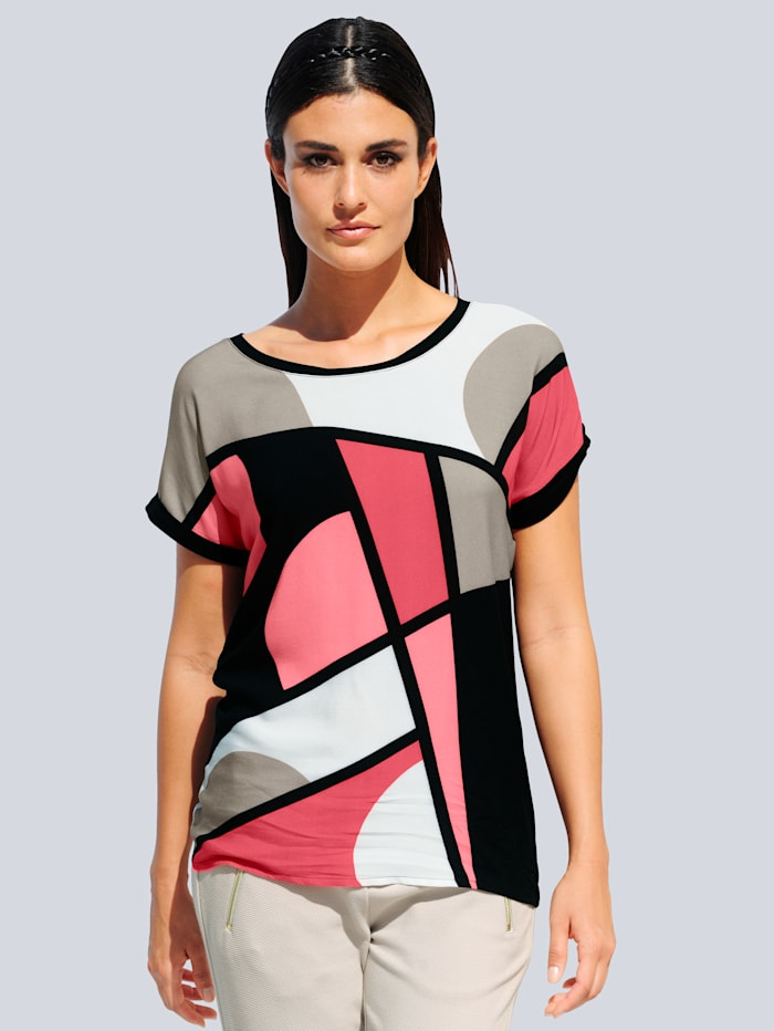 Alba Moda Shirt mit Alba Moda exklusivem Print, Koralle/Schwarz/Stein/Off-white