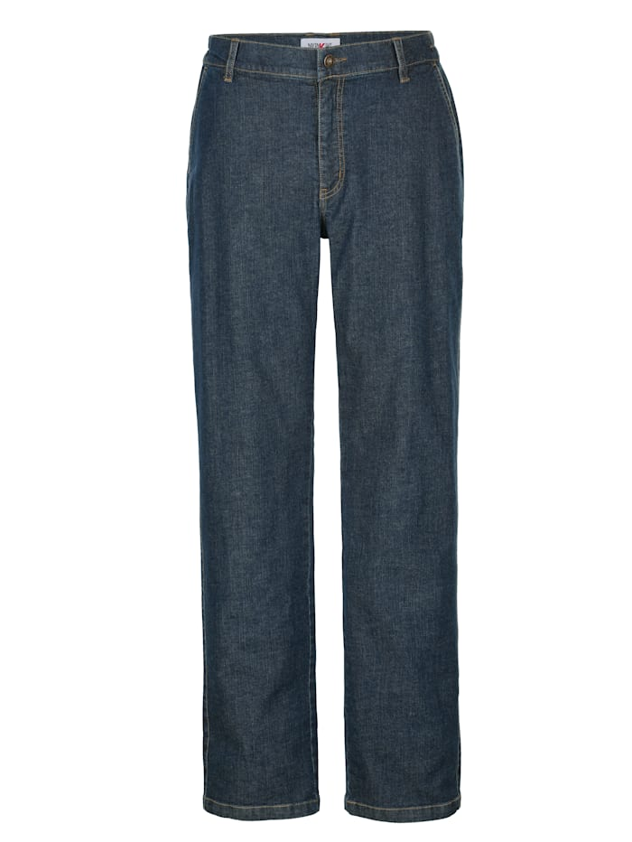 Roger Kent Jeans met elastische bandinzetten opzij, Dark blue