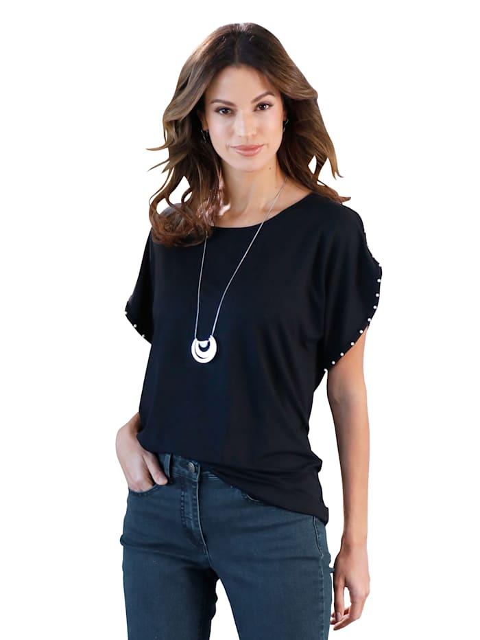 AMY VERMONT Shirt met kraaltjes, Zwart