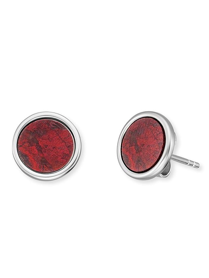 Engelsrufer Silber Damen-Ohrstecker Ohrringe Kraftstein Roter Jaspis, Rot