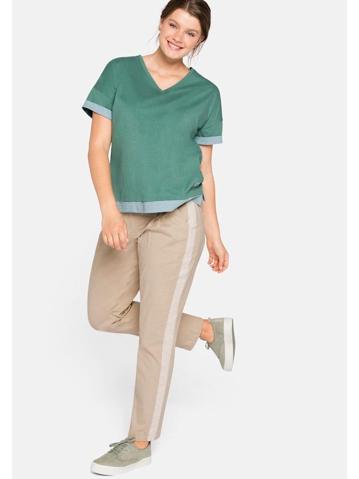 Sheego Chinohose mit gestreiftem Alloverdruck, beigefarben