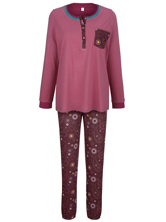 Blue Moon Pyjama met contrastkleurige knoopsluiting, Rozenhout/Bordeaux