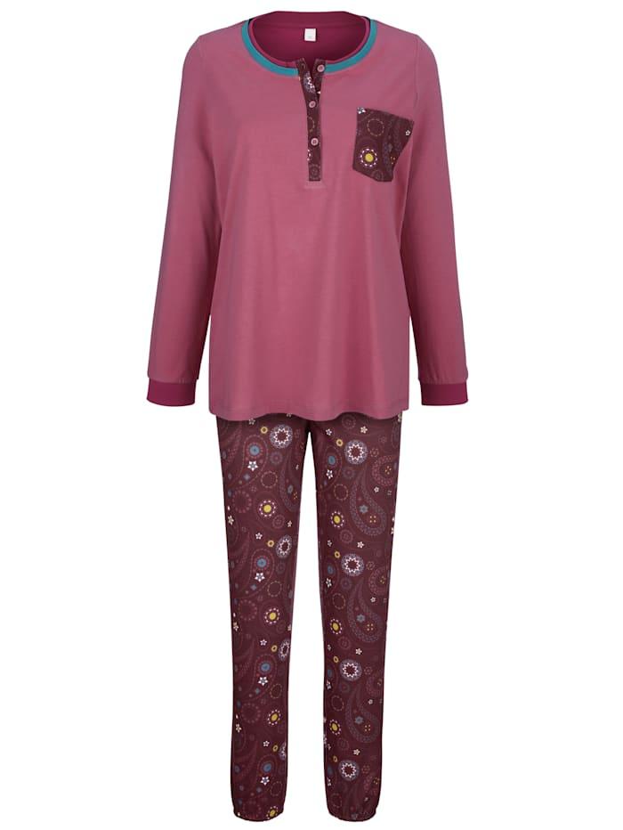 Blue Moon Pyjamas med kort knappslå, Gammalrosa/Bordeaux