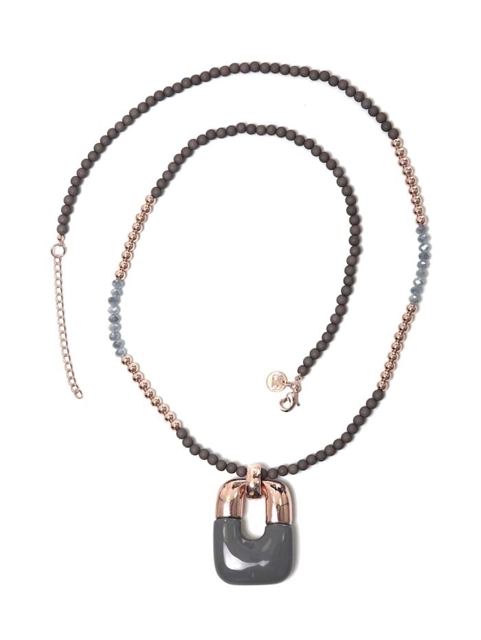 Collezione Alessandro Lange Kette Silvia mit Perlen aus Glas, Metall und Kunstharz, grau