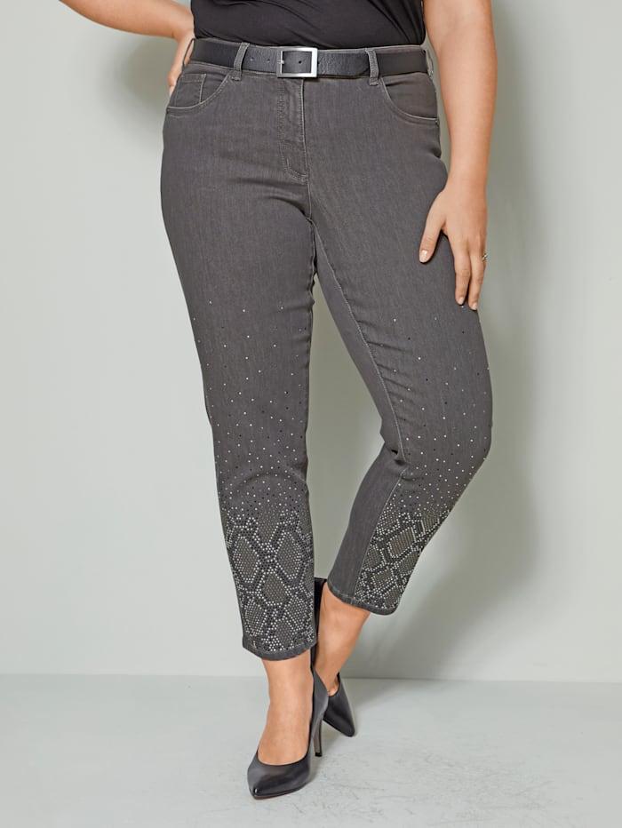 Sara Lindholm Jeans met strassteentjes, Grijs