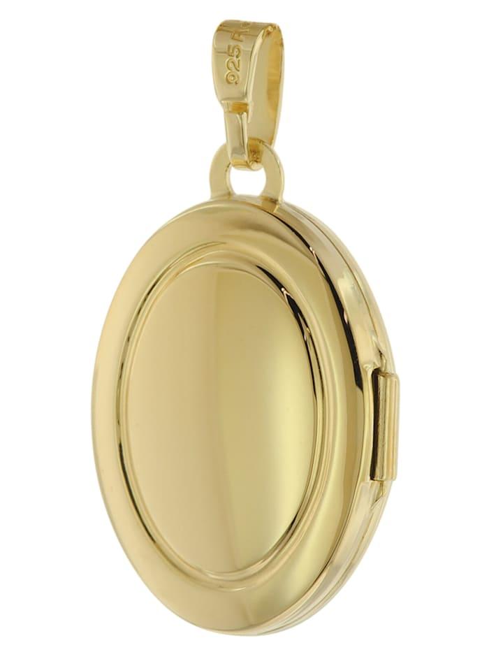 Damen Medaillon mit Halskette Gold auf Silber 925