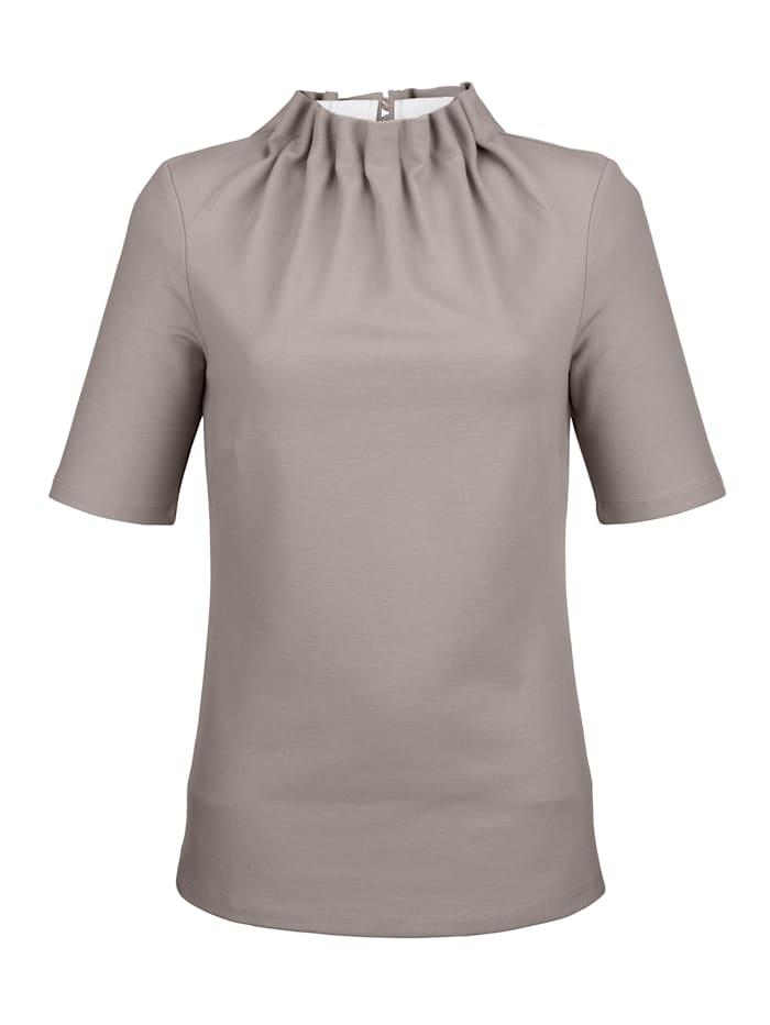 Alba Moda Shirt mit interessanter Kragenlösung, Taupe