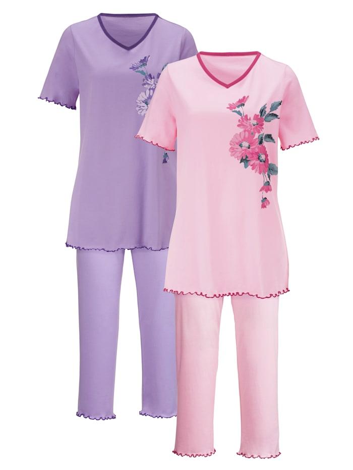Harmony Pyjamaser i 2-pk med fine kontrastpassepoiler, Rosa/Syrin