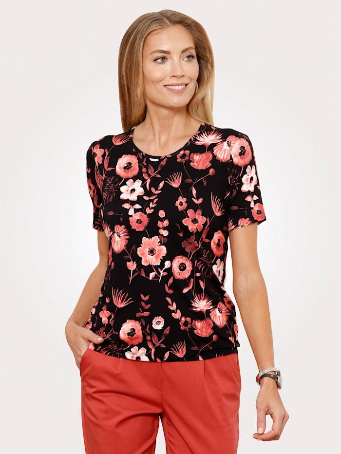 MONA Shirt mit floralem Druckmotiv, Schwarz/Ziegelrot