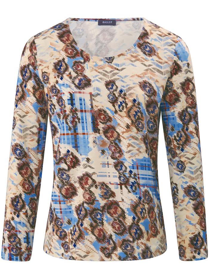 Basler Shirt mit Rundhalsausschnitt und Allover-Print, blue multicolour