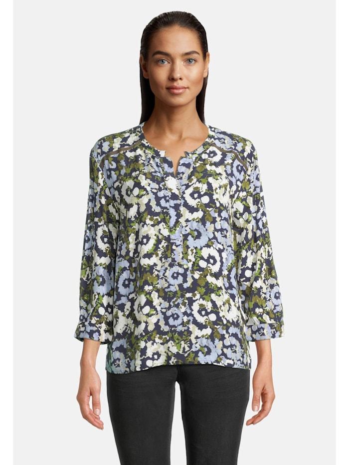 Betty & Co Casual-Bluse mit Print Aufgesteppte Bänder, Dunkelblau