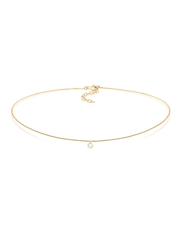 Elli Halskette Choker Mondstein Anhänger Basic Trend 925 Silber, Gold