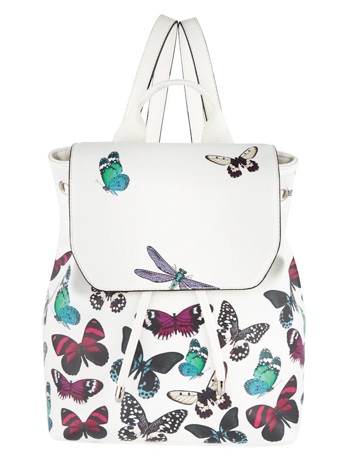 Collezione Alessandro Ruksak s peknou potlačou, biela-motýle