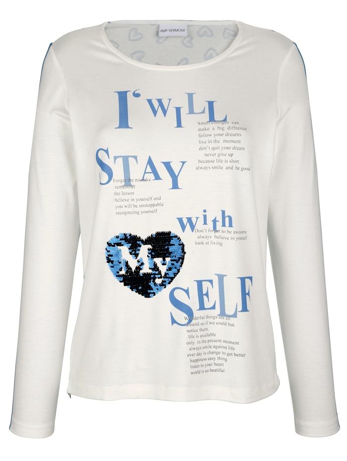 Shirt mit Motiv im Vorderteil und bedrucktem Rückteil