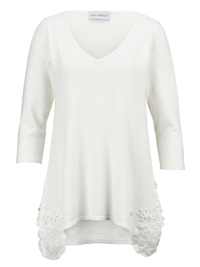 AMY VERMONT Pullover mit seitlich aufgesetzter Spitze, Weiß