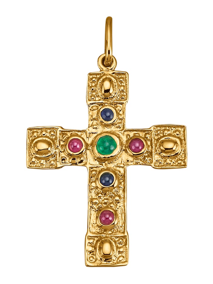 Amara Farbstein Anhänger mit Smaragd, Multicolor