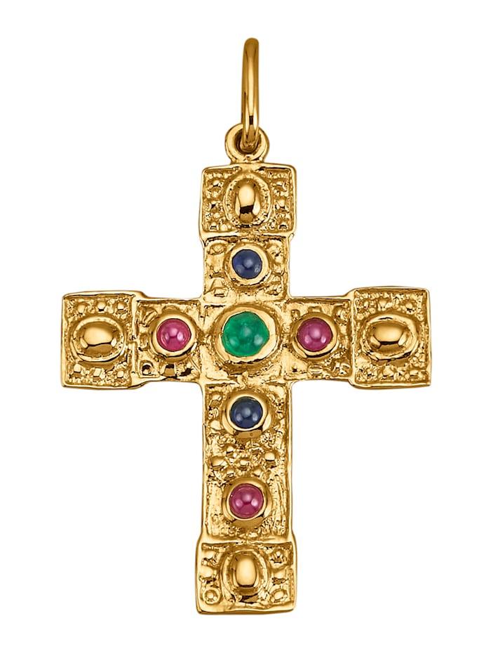 Diemer Farbstein Anhänger mit Smaragd, Multicolor