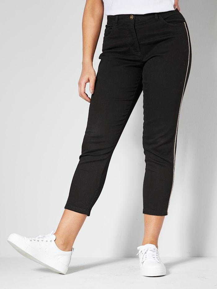 Angel of Style Jeans med galonstriper og kjedepynt, Svart
