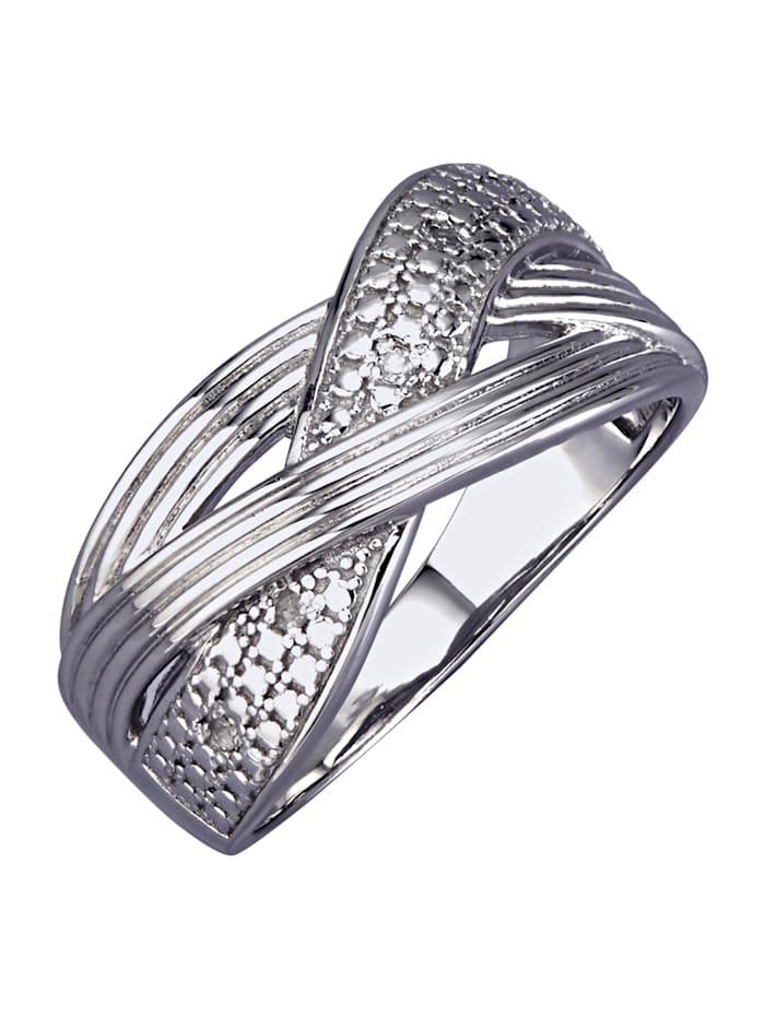 AMY VERMONT Damenring mit Diamanten, Silberfarben