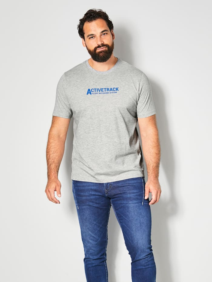 Men Plus T-Shirt mit platziertem Druck, Grau