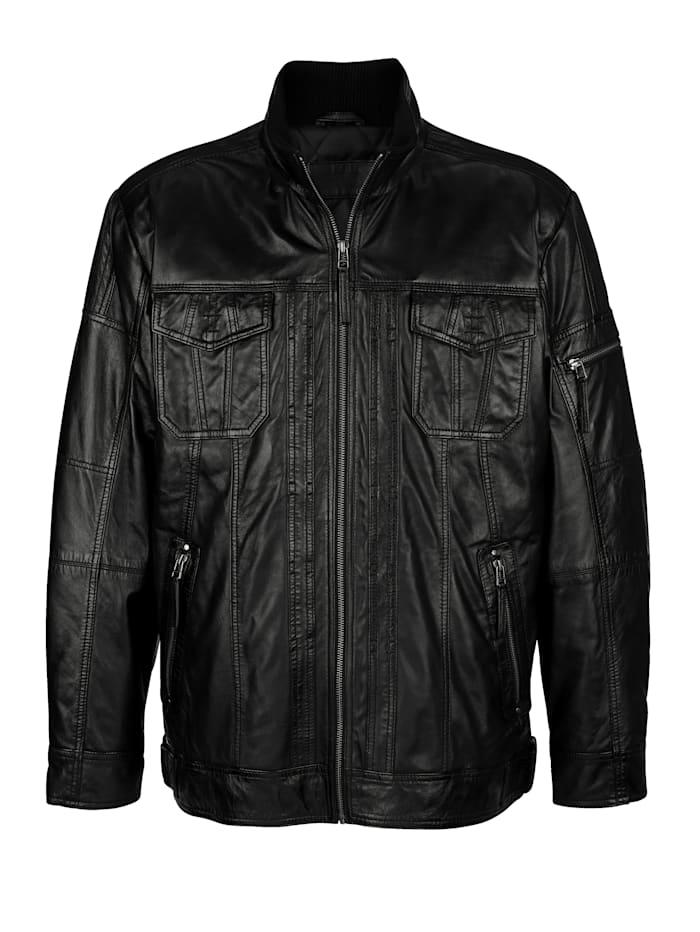Roger Kent Kožená bunda z mäkkej jahňacej kože, Čierna