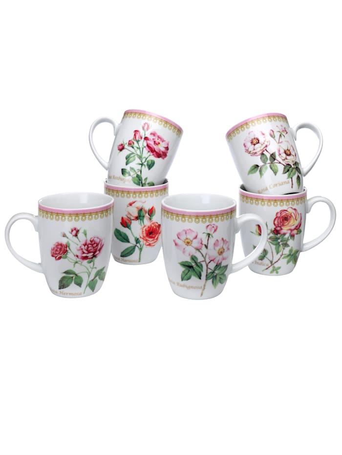 "Lot de 6 tasses à café Casamaxx ""roses"""