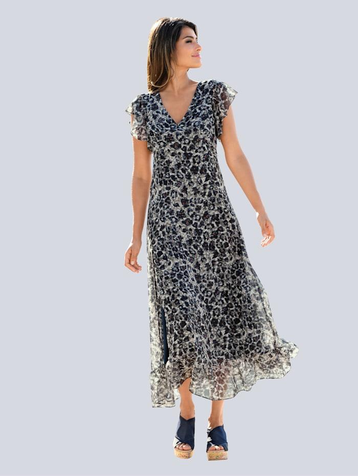 Alba Moda Strandkleid mit Volants, Navy-grau-braun