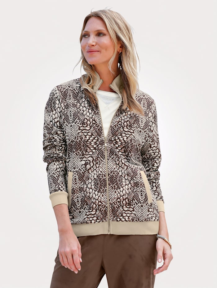MONA Jacket in a modern snake print, Brown/Beige