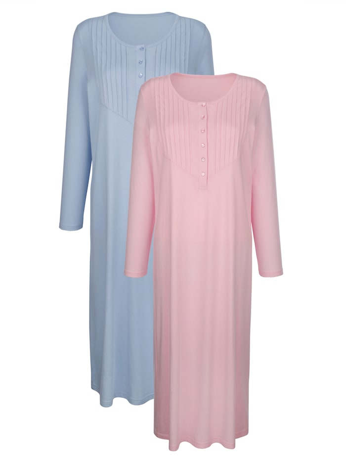 Blue Moon Nachthemden mit gebogtem Ärmelsaum, Rosé/Blau