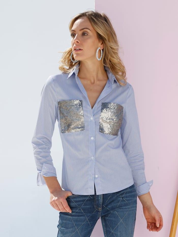 Bluse mit aufgesetzten Taschen aus Pailletten