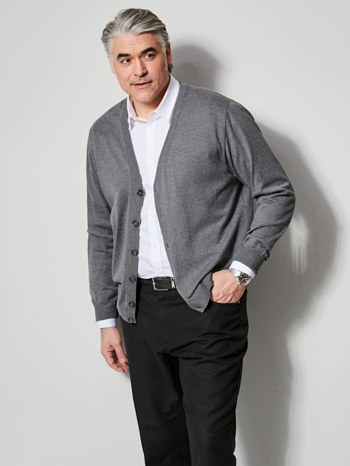 Men Plus Cardigan aus pflegeleichter Baumwoll-Mischung, Grau