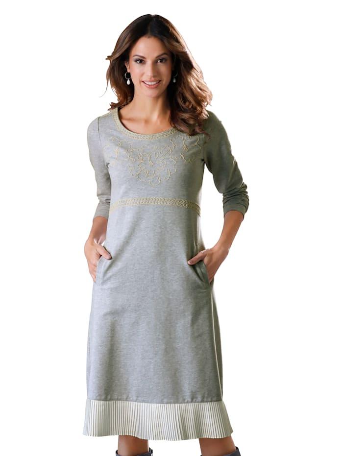 AMY VERMONT Sweatkleid mit Stickerei und Plisseesaum, Grau/Off-white