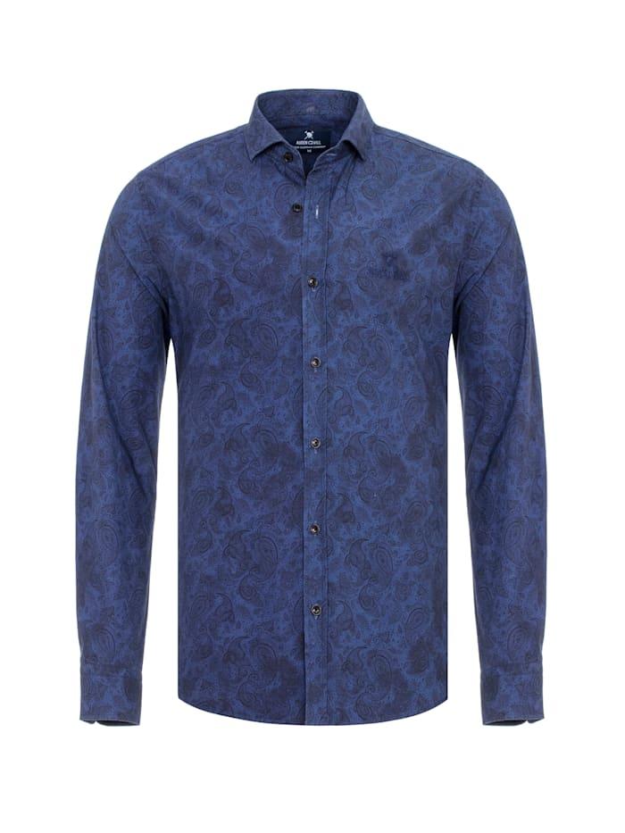 Auden Cavill Herrenhemd Essen mit Muster, Blau