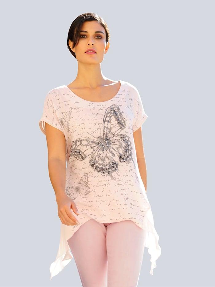 Alba Moda Shirt im Vorderteil mit Motivprint, Rosé/Grau