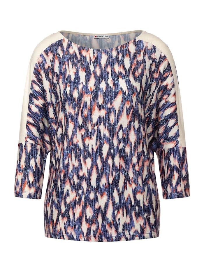 Street One Softes Shirt mit Ikat Print, dark blue