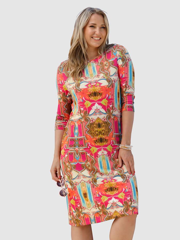MIAMODA Jerseykleid mit glitzernden Dekosteinen am Ausschnitt, Multicolor