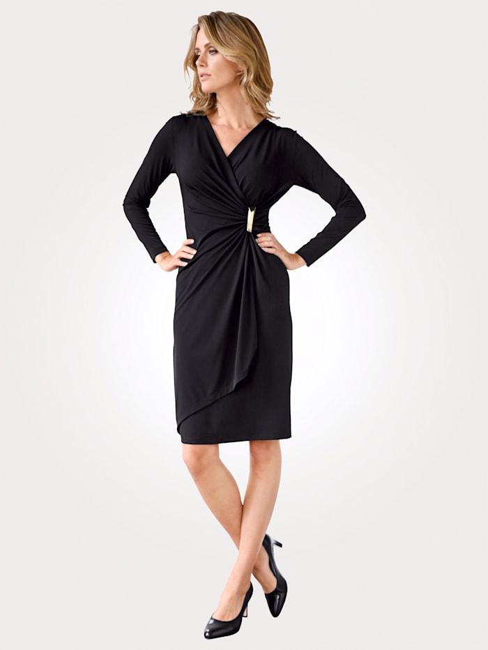 MONA Kleid mit dekorativer Schnalle, Schwarz