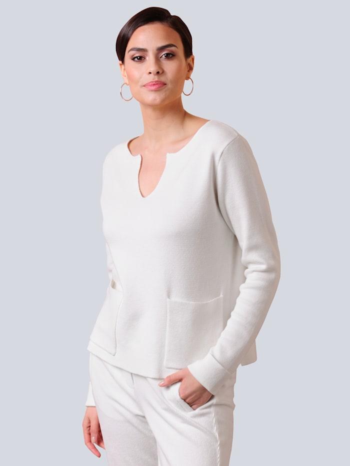 Alba Moda Pullover mit fixiertem Aufschlag am Arm, Off-white