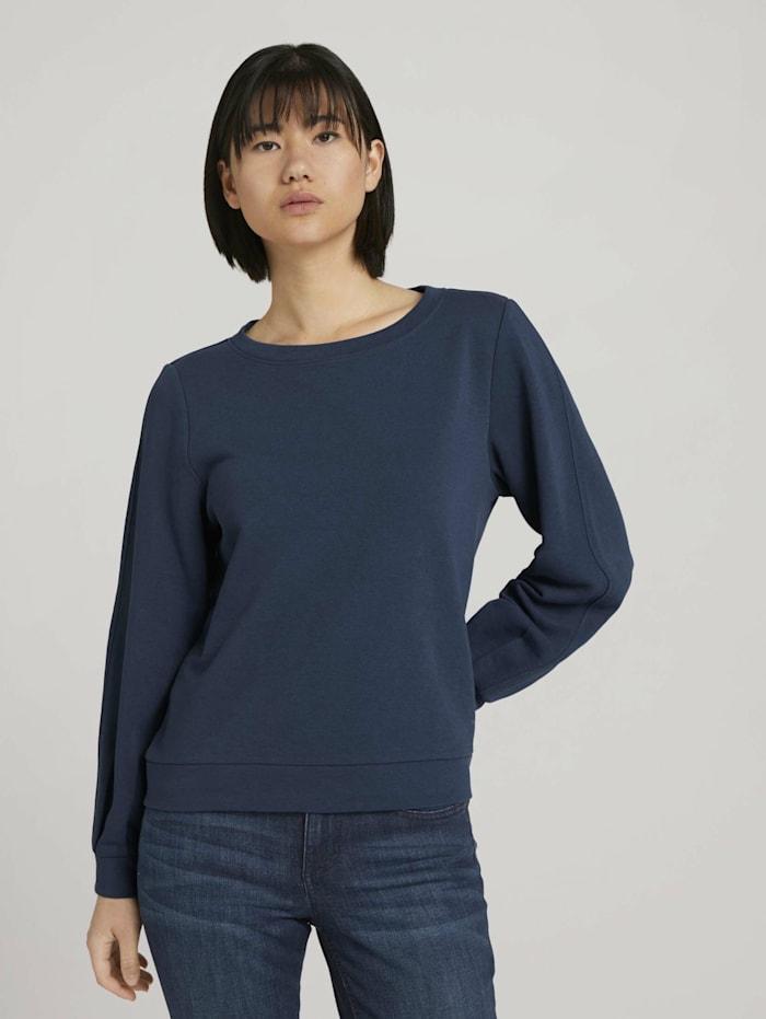 Tom Tailor Basic Sweatshirt mit Bio-Baumwolle, Dark Denim Blue