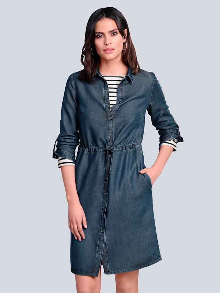 Alba Moda Kleid mit Tunnelzug und Bindeband, Dark blue
