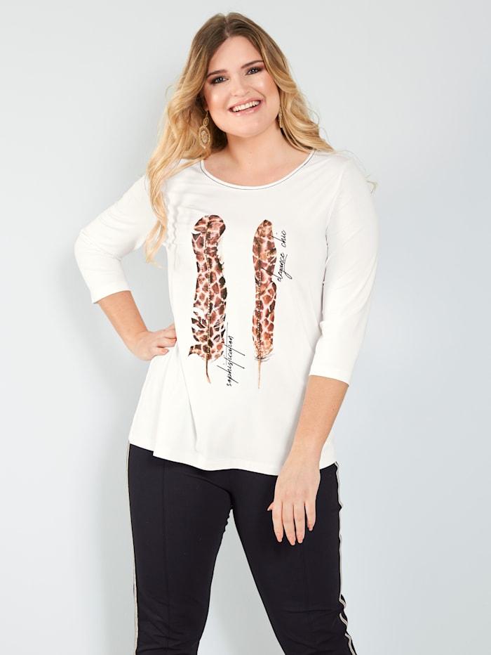 Sara Lindholm Shirt mit Federmotiv, Off-white/Braun