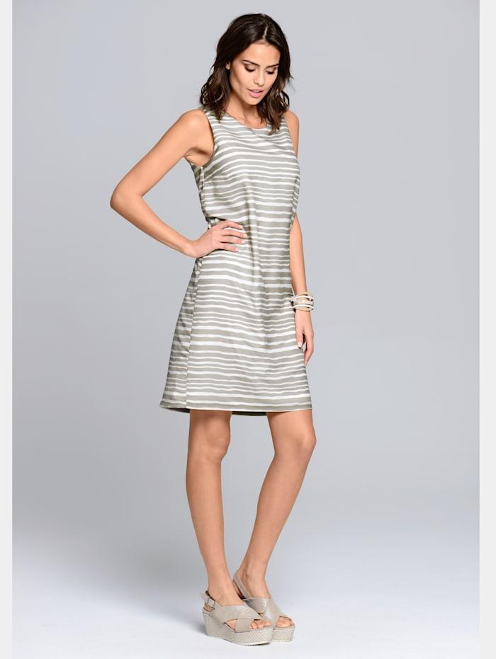 Alba Moda Druckkleid in angesagtem Streifendessin, Taupe/Off-white
