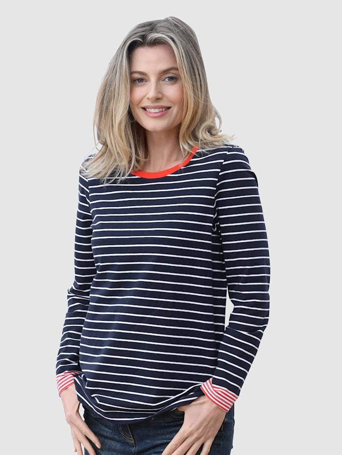 basically you Shirt mit Streifenmuster, Marineblau/Weiß/Ziegelrot