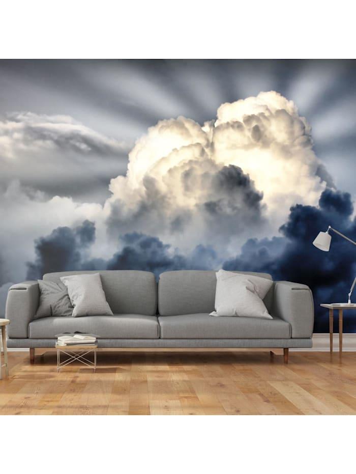 artgeist Fototapete Sonnenstrahlen am Himmel, Grau,Dunkelblau,Weiß