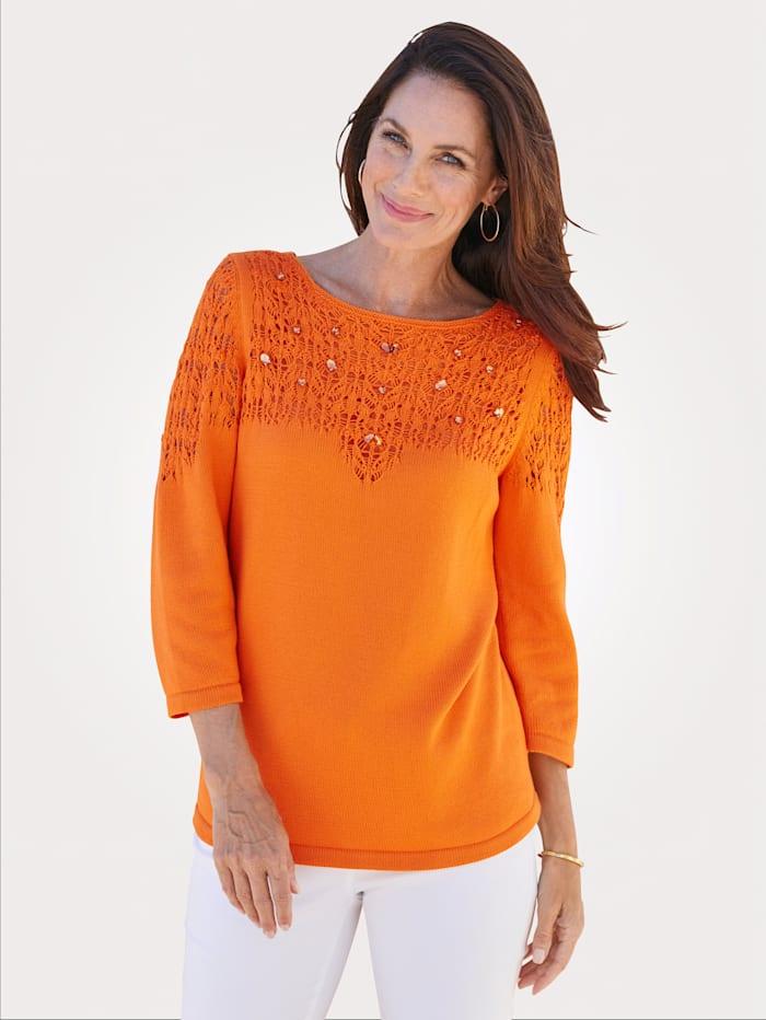 MONA Pullover mit dekorativer Steinchenzier, Orange