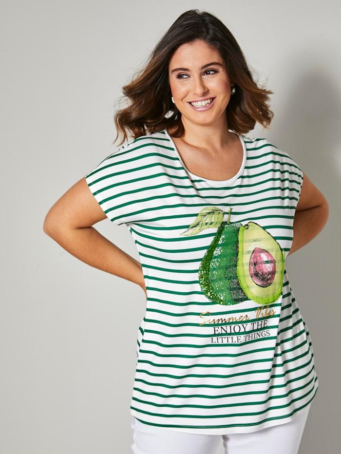 Sara Lindholm Shirt mit Avocado und Schriftzug Print, Ecru/Grün