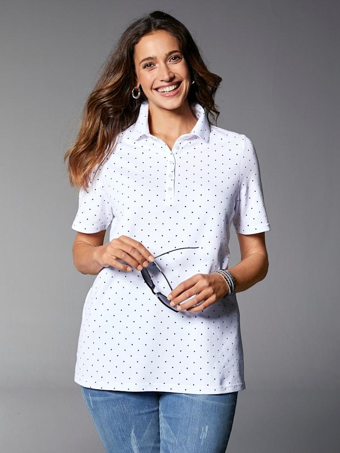 MIAMODA Poloshirt met tijdloos stippendessin, Wit/Marine