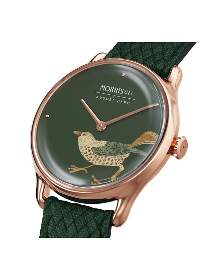 Uhr MORRIS & CO Rose Gold Bird Green Perlon 30mm