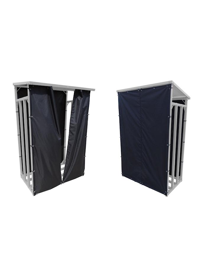 Grasekamp Wetterschutz Set Front und Rückwand zu  Kaminholzunterstand M 130 x 60 x 150 cm  Polyester Schwarz, Schwarz