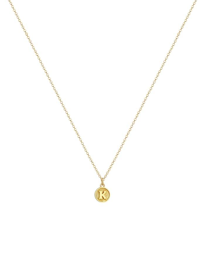 Halskette Buchstabe K Initialen Vintage Plättchen 925 Silber